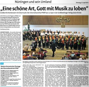 Bericht aus der Nürtinger Zeitung vom 21.04.2013